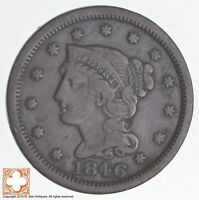 1846 BRAIDED HAIR LARGE CENT   SMALL DATE  3982