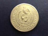 1986 AUSTRALIA $1 INTERNATIONAL YEAR OF PEACE   CIRCULATED 1 DOLLAR COIN