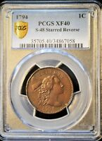 1794 1C LIBERTY CAP LARGE CENT STARRED REVERSE S 48 R5 PCGS GRADED 40.