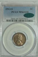 1913-S LINCOLN CENT  PCGS MINT STATE 64RB CAC MISHASCOINS
