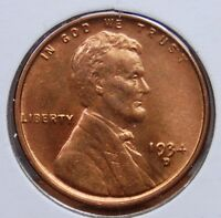 1934 D LINCOLN WHEAT CENT  CHOICE RED BRILLIANT UNCIRCULATED   COIN