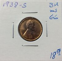 1938-S LINCOLN CENT RED/BROWN