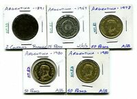 ARGENTINA : LOT OF 5 COINS  1891   1980