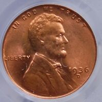 1936 D LINCOLN CENT PCGS MINT STATE 66 RED LUSTROUS RED WITH THE FAINTEST HINT OF FADING
