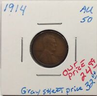 1914 LINCOLN WHEAT CENT IN AU CONDITION