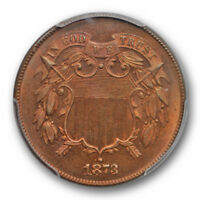 1873 2C OPEN 3 TWO CENT PIECE PCGS PR 66 RB PROOF ONLY ISSUE KEY DATE