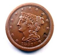 1851 BRAIDED HALF LARGE CENT  UNCIRCULATED RED/BROWN HC001