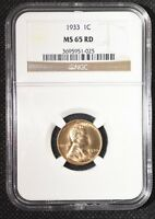 1933 1C RD LINCOLN CENT NGC MINT STATE 65RD