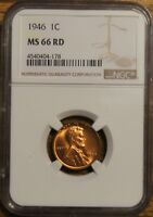 1946 LINCOLN WHEAT CENT 1 - GRADED BY NGC MINT STATE 66 RED-4540404-178
