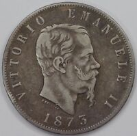 ITALY  5 LIRE  1873  LARGE SILVER