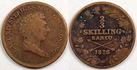 SWEDEN  TWO THIRDS SKILLING  1836