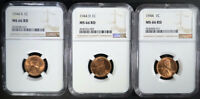 1944 P,D & S LINCOLN CENTS NGC MINT STATE 66 RD