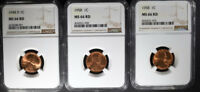 1948-D & 2- 1958 LINCOLN CENTS, NGC MINT STATE 66 RD