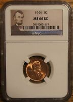 1944 LINCOLN WHEAT CENT 1 - GRADED BY NGC MINT STATE 66 RED-3919085-119