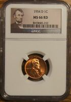 1954-D LINCOLN WHEAT CENT - GRADED BY NGC MINT STATE 66 RED-3919085-252