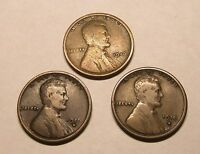 SET OF 3, 1916 [P]  1916-D  1916-S, LINCOLN WHEAT CENTS/PENNIES