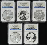 2011 SILVER EAGLE 5-COIN 50TH ANNIVERSARY SET EACH NGC 70 - EARLY RELEASES
