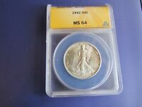 1942 50C WALKING LIBERTY HALF DOLLAR ANACS MINT STATE 64