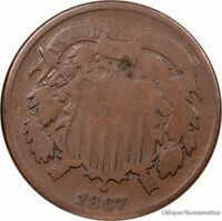 1867 TWO CENT PIECE 2C LF4664 G  GOOD