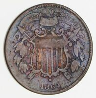 1864 SHIELD 2 CENT PIECE - SMALL MOTTO - CIRCULATED 2480