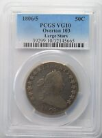 1806/5 BUST HALF DOLLAR, PCGS VG10, OVERTON 103, LARGE STARS, SHIPS FREE