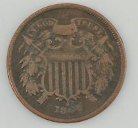 1864 TWO-CENT PIECE, CIVIL WAR DATE Z18