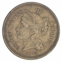 1873 THREE CENT PIECE - COPPER NICKEL YB88