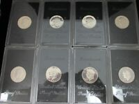 EIGHT 8 1971-S EISENHOWER IKE PROOF SILVER DOLLARS IN ORIGINAL PLASTIC CASES