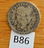 1914D SILVER BARBER DIME  - CLEAR DATE AND MINT MARK B86
