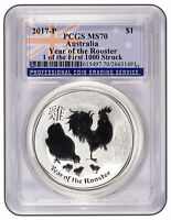 2017 AUSTRALIA 1OZ SILVER LUNAR ROOSTER PCGS MS70 ONE OF FIR