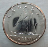 1961 CANADA 10 CENTS PROOF LIKE SILVER DIME COIN