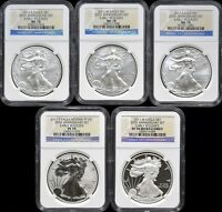 2011 SILVER EAGLE 5 COIN 25TH ANNIVERSARY SET EACH NGC 70   EARLY RELEASES