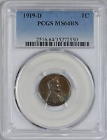 1919 D LINCOLN CENT PCGS MINT STATE 64 BN