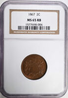 1867 TWO CENT PIECE NGC MINT STATE 65 RB