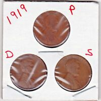 1919  P, D AND S LINCOLN CENTS IN GOOD/VG CONDITION   3 COINS  STK 109