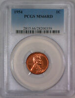 1954-P LINCOLN WHEAT CENT WHEATBACK BU PENNY  HIGH GRADE PCGS MINT STATE 66 RD RED 359
