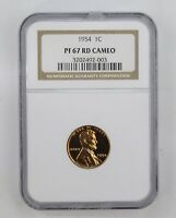 PR67RD CAM 1954 LINCOLN WHEAT CENT - NGC GRADED 8984