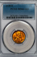 1938-S LINCOLN CENT PCGS MINT STATE 66RD PLUS-GRADED RED GEM 34665661