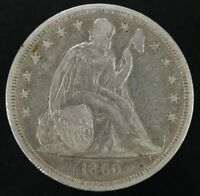 1860 O SEATED LIBERTY SILVER DOLLAR $1 EXTRA FINE  - DETAILS EXTRA FINE 5007
