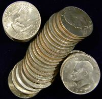 ONE ROLL 20 COINS 1971-78 EISENHOWER/IKE DOLLARS, MIXED DATE AU/BU COINS