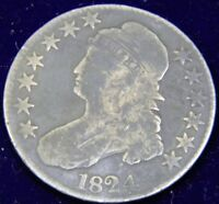 1824 CAPPED BUST HALF DOLLAR 50C, OVERTON 108 - R2, VG - F, LIGHT CLEANING