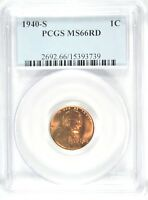 1940-S LINCOLN CENT PCGS MINT STATE 66 RED  GA153