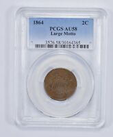 AU58 1864 TWO-CENT PIECE - LARGE MOTTO - PCGS GRADED 7590