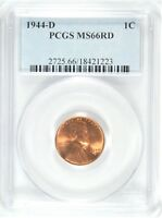 1944-D LINCOLN CENT PCGS MINT STATE 66 RED  GA184