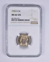 MINT STATE 66 5FS 1950-D FULL STEPS JEFFERSON NICKEL - NGC GRADED 8938
