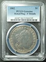 1802 DRAPED BUST DOLLAR, PCGS,  F-DETAILS, PLUGGED,  SHIP FREE, MORE AT STORE