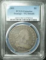 1801 DRAPED BUST DOLLAR, PCGS,  VG-DETAILS, DAMAGE,  SHIP FREE, MORE AT STORE
