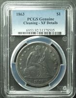 1863 SEATED LIBERTY DOLLAR, PCGS, EXTRA FINE -DETAIL, CLEANED, SHIP FREE MORE AT STORE
