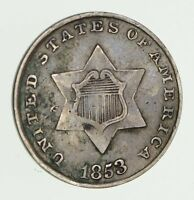 1853 SILVER THREE-CENT PIECE - CIRCULATED 7475