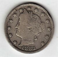 1883 NO CENTS LIBERTY NICKEL IN FINE CONDITION   STK L 92.99
